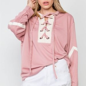 Tasha Appearel Sweaters - 🌸Knit Hooded Lace-up Sweater